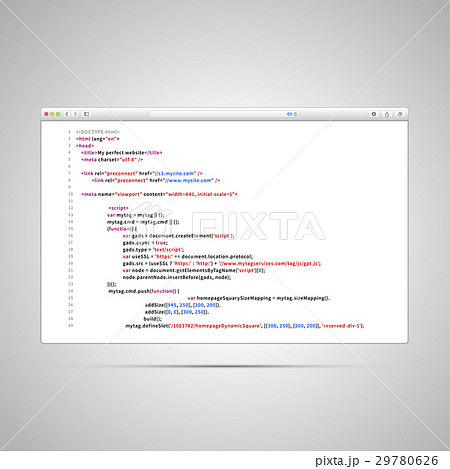 Browser window with simple html code of web pageのイラスト素材 [29780626] - PIXTA