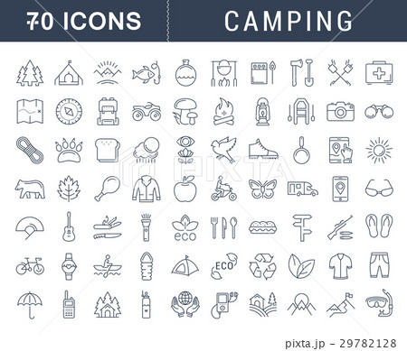 Set Vector Flat Line Icons Camping 29782128