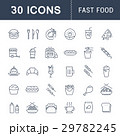 Set Vector Flat Line Icons Fast Food 29782245