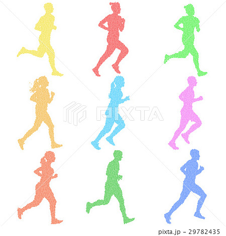 Set of silhouettes. Runners  sprint, men and woman 29782435