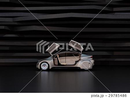 黒い背景の前にある艶消しシルバー塗装の電気自動車 29785486