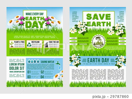 earth day save planet information poster templateのイラスト素材