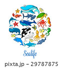 Sea ocean cartoon animals, fishes vector poster 29787875