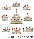 Castle or medival fairy tale fortress vector icons 29787876