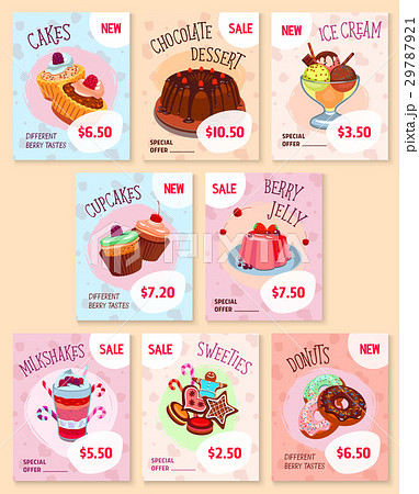 bakery desserts price tags vector templates setのイラスト素材