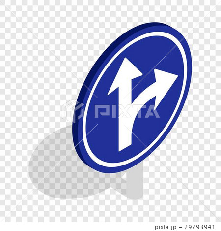 Turn right road sign isometric iconのイラスト素材 [29793941] - PIXTA
