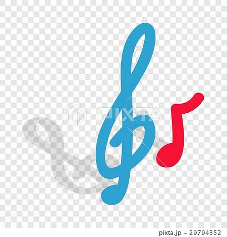 Music key and note isometric iconのイラスト素材 [29794352] - PIXTA