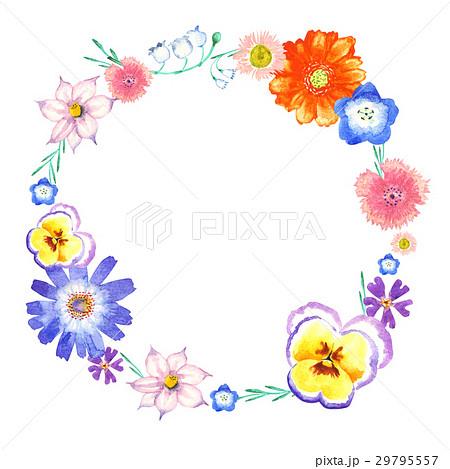 春の花 水彩画 フレーム 水彩 イラストのイラスト素材 29795557 Pixta