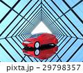 左右対称のガラス張りトンネルにある赤色の自動運転車 29798357