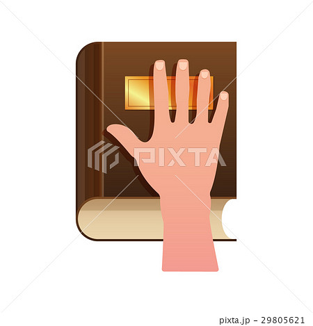 Hand on Constitution as Oath Concept Icon 29805621