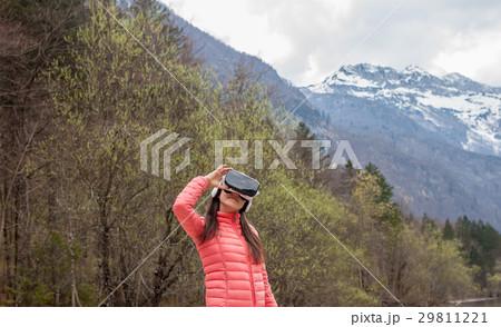 young woman in VR glassesの写真素材 [29811221] - PIXTA