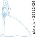 ウェディング姿のシルエット(青) 29812426