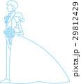刺繍風のウェディング姿のシルエット(水色) 29812429