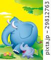 ゾウ親子 イエローバック ゾウのイラスト 29812763