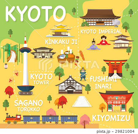 map of kyoto attractions vector and illustration のイラスト素材