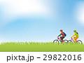 草原でサイクリングをするイメージイラスト(男女) 29822016