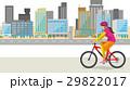 街中をサイクリングするイメージイラスト(女性) 29822017