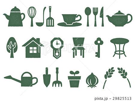 木プリント風 マークイラスト(緑) ホーム・インテリア・キッチン・ガーデン 29825513
