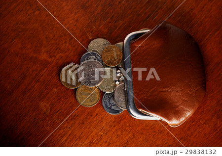 Russian iron coins next to the old brown walletの写真素材 [29838132] - PIXTA