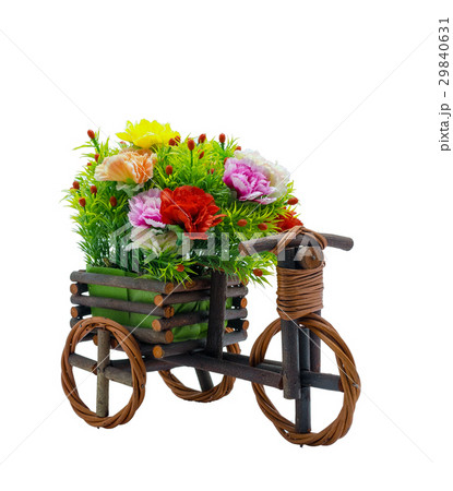 Bunch fake flowers in the wooden bicycle on white background, include clipping pathの写真素材 [29840631] - PIXTA