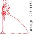 刺繍風のウェディング姿のシルエット(赤) 29841132