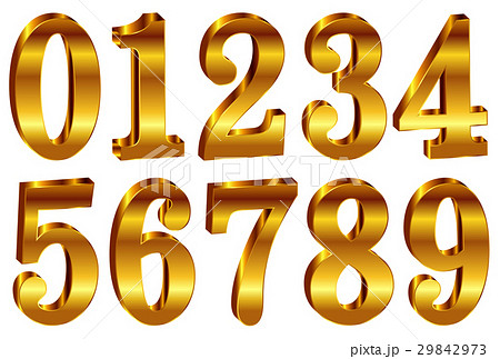 数字 立体 金 アイコン  29842973