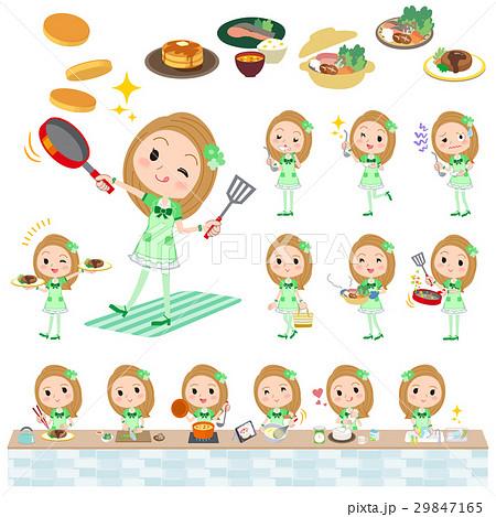 Pop idol in green costume cooking 29847165