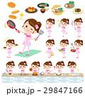 Pop idol in pink costume cooking 29847166