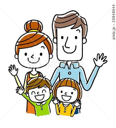 笑顔の4人家族 29848044