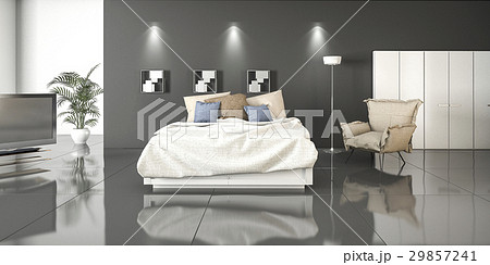 3d rendering reflection bedroom with plantsのイラスト素材 [29857241] - PIXTA