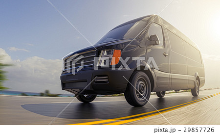 Black Cargo Van on Countryside Road Motion Blurred 29857726