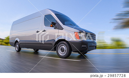 Gray Commercial Van on Highway Motion Blurred 29857728