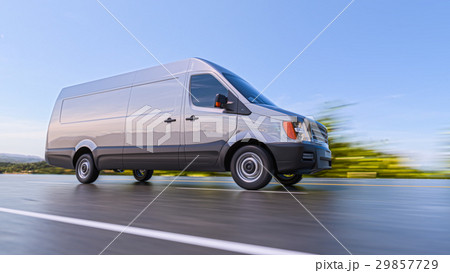 Gray Commercial Van on Highway Motion Blurred 29857729