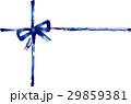 筆書き_リボン_十字_青 29859381