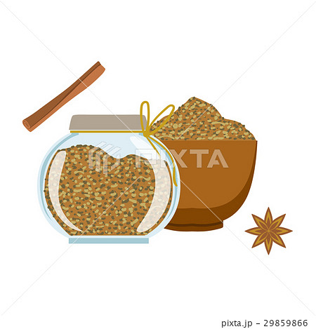 Fennel seeds in a wooden bowl and glass jarのイラスト素材 [29859866] - PIXTA