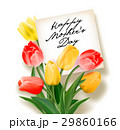 Bouquet of red and yellow tulips with a note 29860166