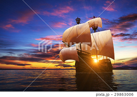Caravel On The Sunset Background 29863006
