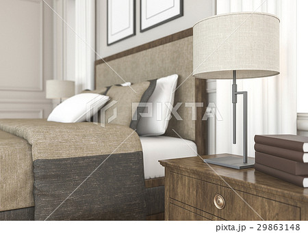 classic style bedroom with beautiful lampのイラスト素材 [29863148] - PIXTA