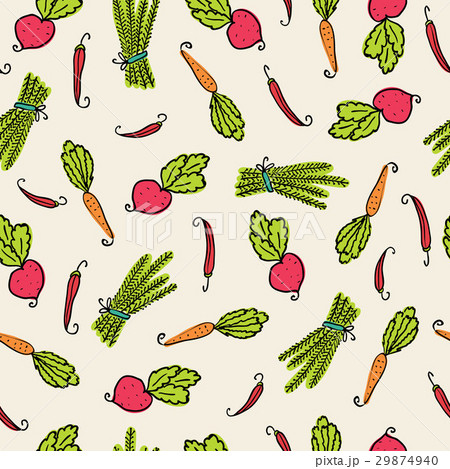 Pattern of vegetables of beets, carrots and pepperのイラスト素材 [29874940] - PIXTA