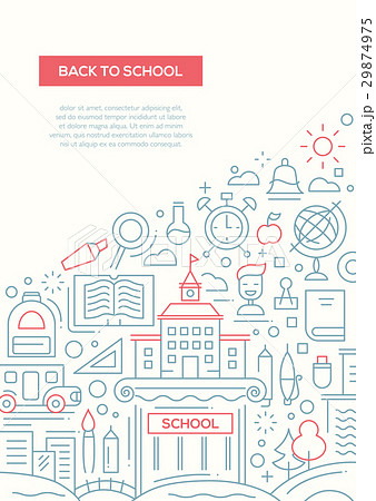 back to school line design brochure posterのイラスト素材 29874975