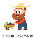 Funny farmer, gardener character pushing barrow 29879046