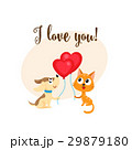 I love you card with dog, cat, heart shaped 29879180
