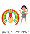 Girls playing with hula hoop and hanging on monkey 29879972