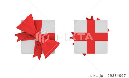 3d rendering of a white square gift box with a redのイラスト素材 [29884097] - PIXTA