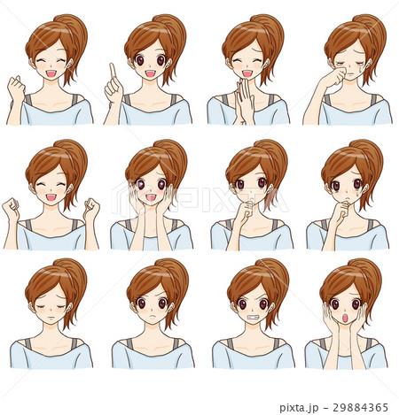 女性インストラクター 表情セットのイラスト素材 [29884365] - PIXTA