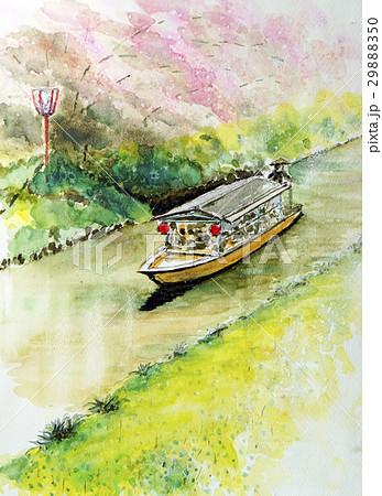 春の水郷巡り スケッチ画 29888350