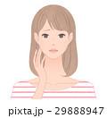 女性 顔 困り顔のイラスト 29888947