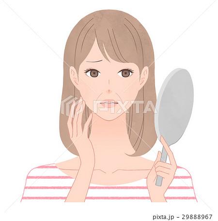 鏡を見て悩む女性 ほうれい線 29888967