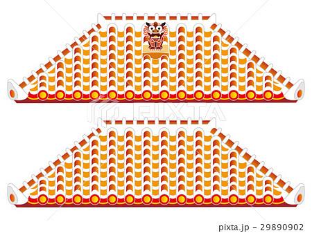 シーサーと赤瓦屋根のイラスト素材 29890902 Pixta