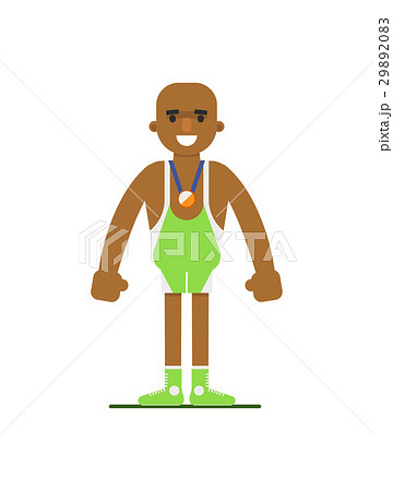Young african weightlifter in sports uniform 29892083